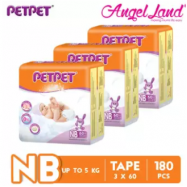 image of PETPET Tape Diaper Jumbo Packs NB60/S56/M48/L40/XL32 - (3Pack)