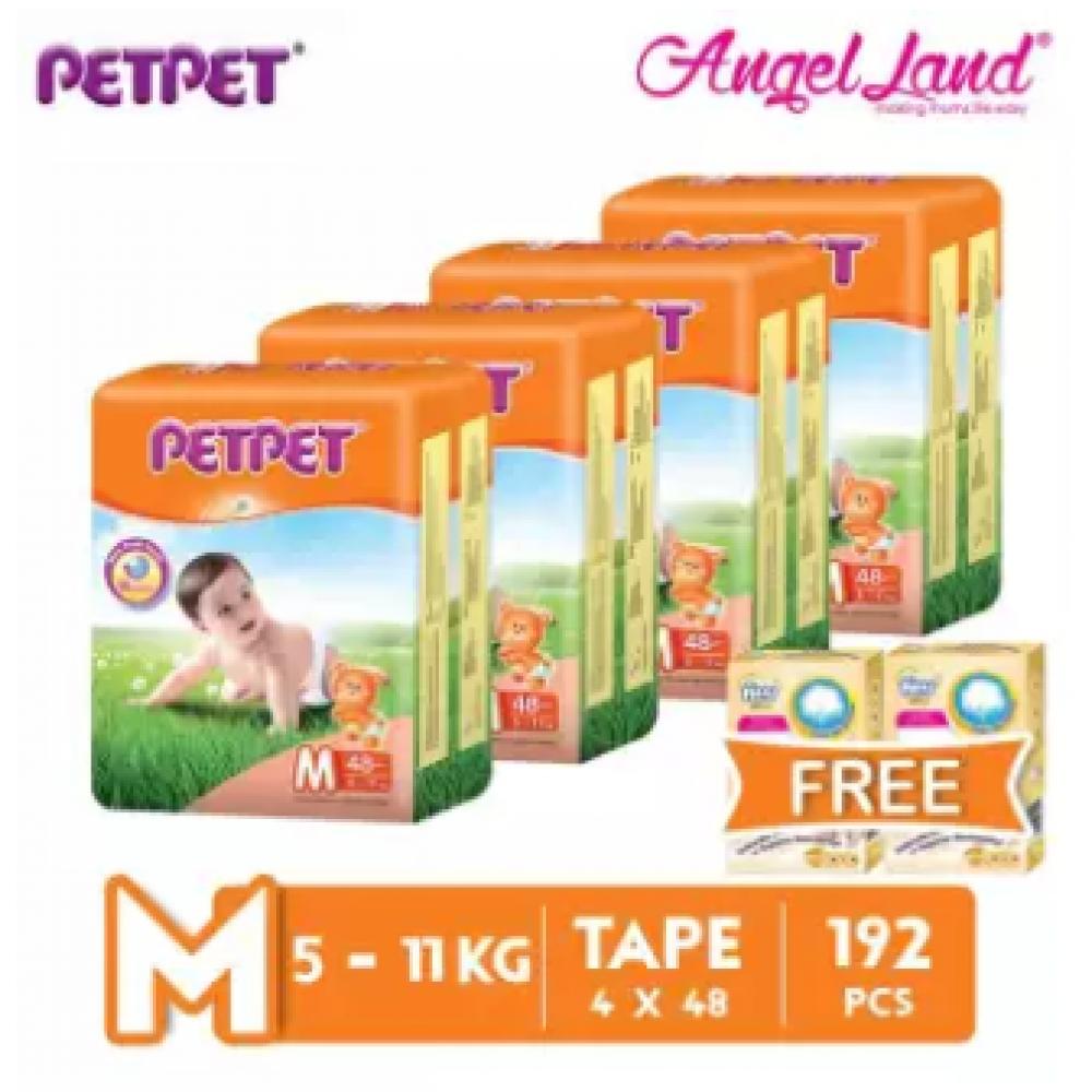 PETPET Tape Diaper Jumbo Packs M48 (4 Pack) + Free Fitti Gold Sample Diaper 4pcs