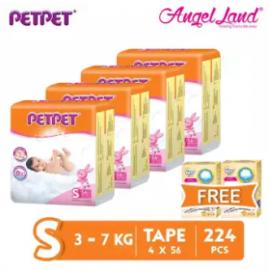 image of PETPET Tape Diaper Jumbo Packs S56 (4 Pack) + Free Fitti Gold Sample Diaper 4pcs