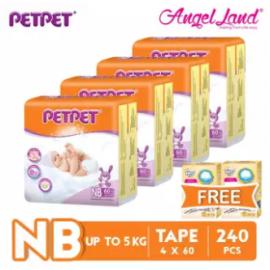 image of PETPET Tape Diaper Jumbo Packs NB60 (4 Pack) + Free Fitti Gold Sample Diaper 4pcs