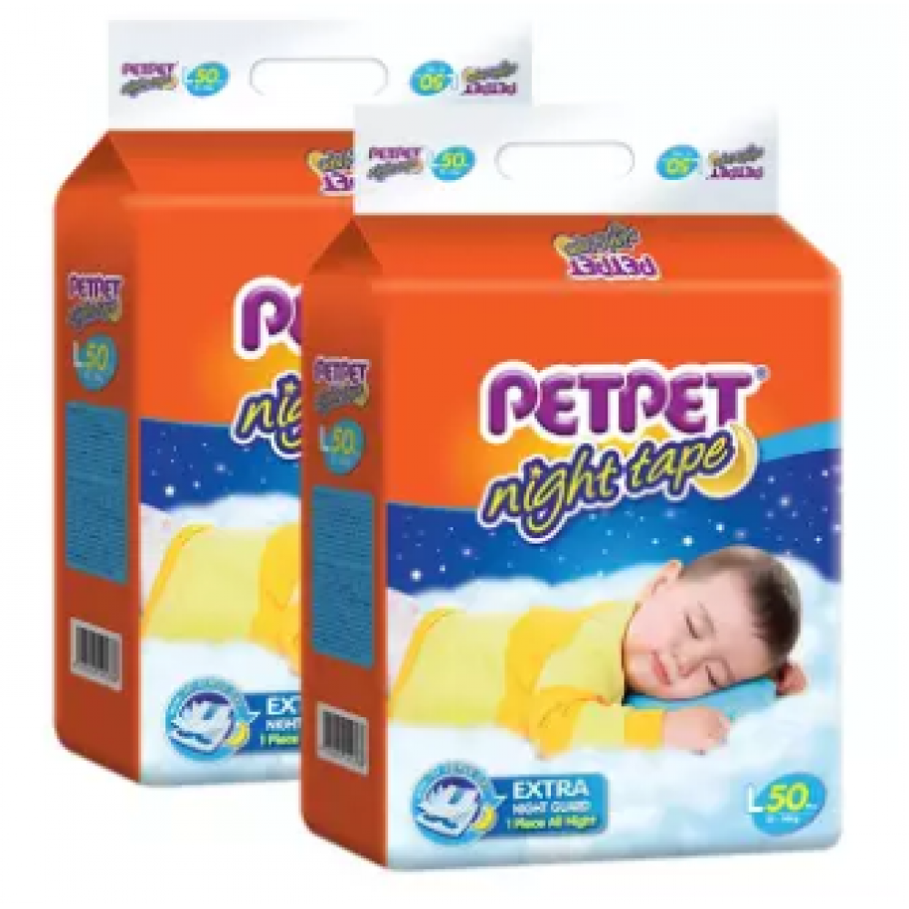 PETPET Night Tape Diaper Mega Packs L50 (2packs)