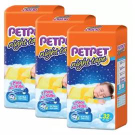 image of PETPET Night Tape Diaper Jumbo Packs L32 (3packs)