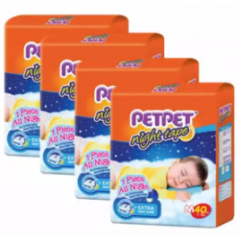 image of PETPET Night Tape Diaper Jumbo Packs M40 (4packs)