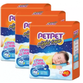 image of PETPET Night Tape Diaper Jumbo Packs M40 (3packs)