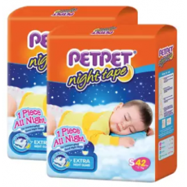 image of PETPET Night Tape Diaper Jumbo Packs S42 (2packs)