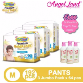 image of BabyLove Premium GoldPants Jumbo Pack M64 (3Packs) + Free 3x Kira Kira Top to Toe 400ML