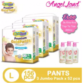 image of BabyLove Premium GoldPants Jumbo Pack L52 (3Packs) + Free 3x Kira Kira Top to Toe 400ML