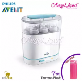 image of Philips Avent 3 in 1 Steriliser FDN - SCF285/01 + FOC Thermos Flask (Random Color)