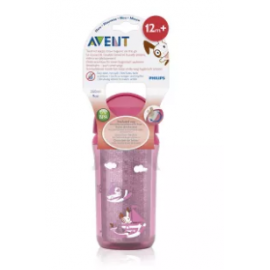 image of Philips Avent Insulated Straw Cups 260ml Pink-SCF766/00