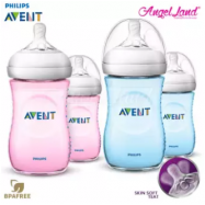 image of Philips Avent Natural Bottle 9oz/260ml Twin Pack Blue SCF695/23 + Pink SCF694/23