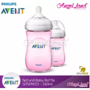 image of Philips Avent Natural Bottle 9oz / 260ml Twin Pack (Pink) - SCF694/23