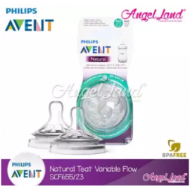 image of [Genuine] Philips Avent Natural Teat 2.0 (Extra Soft) - 2 Pcs/Pack - SCF655/23 3m+ Variable Flow