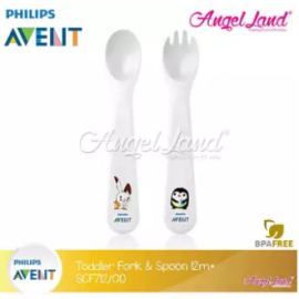 image of Philips Avent Toddler Fork And Spoon 12m+ - SCF712/00