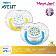 image of Philips Avent Freeflow Contemporary Pacifiers (6-18months) SCF180/27 & SCF180/28- blue