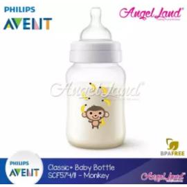 image of Philips Avent Classic+ Feeding Bottle 9oz/260ml Single Pack -Monkey