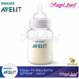 image of Philips Avent Anti-Colic Classic Plus PA Baby Clear Bottle 260ml/9oz (Single Pack) - SCF454/17
