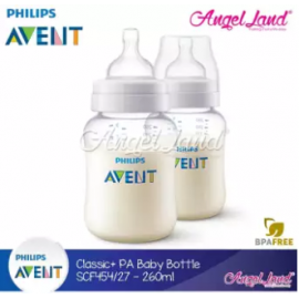 image of Philips Avent Anti-Colic Classic Plus PA Baby Clear Bottle 260ml/9oz (Twin Pack) - SCF454/27