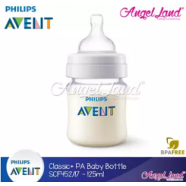 image of Philips Avent Anti-Colic Classic + PA Baby Clear Bottle 125ml/4oz (Single Pack) - SCF452/17