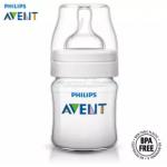 Philips Avent Classic+ Bottle 4oz / 125ml Twin Pack SCF560/27 + Philips Avent Medium Flow Teat 3m+ (3 Hole) 2Pcs/Pack SCF633/27