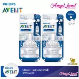 image of Philips Avent Classic+ Teats (4Pcs/Pack) -SCF636/27 - 6m+ (Y)