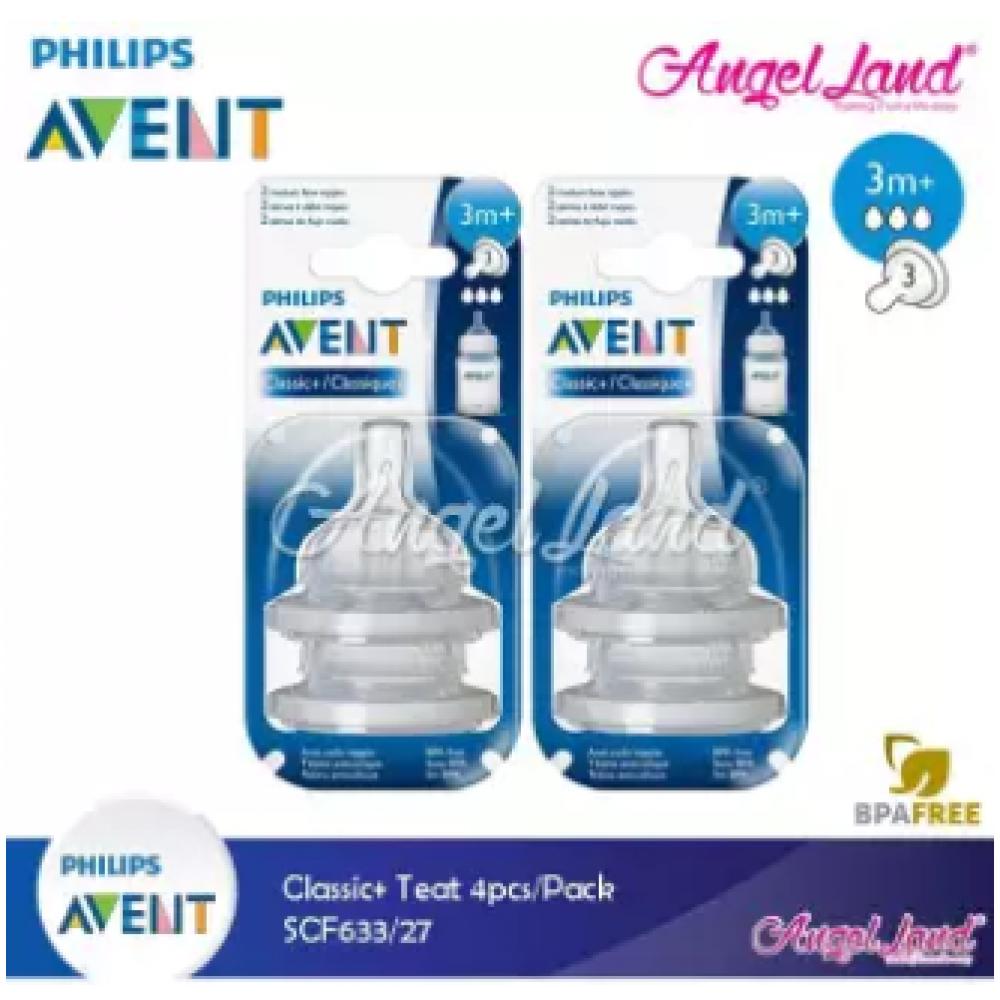 Philips Avent Classic+ Teats (4Pcs/Pack) -SCF633/27 - 3m+ (3h)