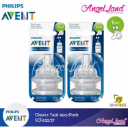 image of Philips Avent Classic+ Teats (4Pcs/Pack)- SCF632/27 - 1m+ (2h)