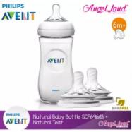 image of Philips Avent Natural Bottle 11oz / 330ml Single Pack - SCF696/13 + Natural Teat (2pcs/pack)- Single Bottle + SCF655/23 (3m+ Vari)
