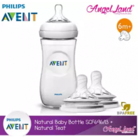 image of Philips Avent Natural Bottle 11oz / 330ml Single Pack - SCF696/13 + Natural Teat (2pcs/pack)- Single Bottle + SCF655/23 (3m+ Vari)