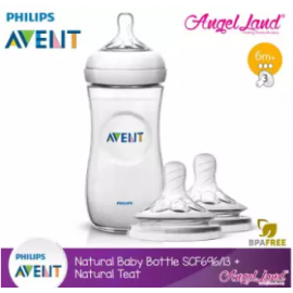 image of Philips Avent Natural Bottle 11oz / 330ml Single Pack - SCF696/13 + Natural Teat (2pcs/pack) -Single Bottle + SCF654/23 (6m+ 3h)