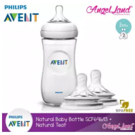 image of Philips Avent Natural Bottle 11oz / 330ml Single Pack - SCF696/13 + Natural Teat (2pcs/pack) -Single Bottle + SCF653/23 (3m+ 2h)