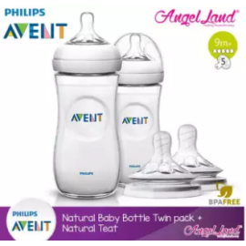 image of Philips Avent Natural Bottle 330ml Twiin Pack (Extra Soft Teat)-SCF696/23 + Natural Teat (2pcs/pack) -Twin Bottle + SCF658/23 (9m+ 5h)