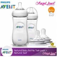 image of Philips Avent Natural Bottle 330ml Twiin Pack (Extra Soft Teat)-SCF696/23 + Natural Teat (2pcs/pack) -Twin Bottle + SCF656/23 (6m+ Y)