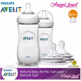 image of Philips Avent Natural Bottle 330ml Twiin Pack (Extra Soft Teat)-SCF696/23 + Natural Teat (2pcs/pack) -Twin Bottle + SCF656/23 (6m+ Y)