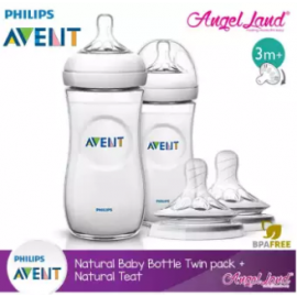 image of Philips Avent Natural Bottle 330ml Twiin Pack (Extra Soft Teat)-SCF696/23 + Natural Teat (2pcs/pack) -Twin Bottle + SCF655/23 (3m+ Vari)
