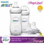 Philips Avent Natural Bottle 330ml Twiin Pack (Extra Soft Teat)-SCF696/23 + Natural Teat (2pcs/pack) -Twin Bottle + SCF654/23 (6m+ 3h)