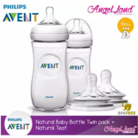 image of Philips Avent Natural Bottle 330ml Twiin Pack (Extra Soft Teat)-SCF696/23 + Natural Teat (2pcs/pack) -Twin Bottle + SCF654/23 (6m+ 3h)