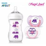 Philips Avent SCF628/17 Elephant Design Bottle + Pacifiers (Pink/Purple)
