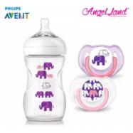 image of Philips Avent SCF628/17 Elephant Design Bottle + Pacifiers (Pink/Purple)