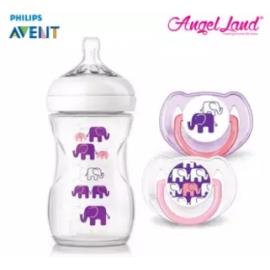 image of Philips Avent SCF628/17 Elephant Design Bottle + Pacifiers (Pink/Purple)