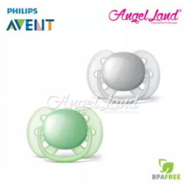 image of Philips Avent Ultra Soft Pacifier 0-6 Months Soother (SCF210/21) -Grey & Green