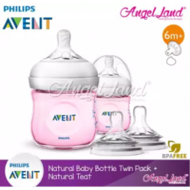 image of [Best Buy For 2x] Philips Avent Natural Bottle 4oz/125ml Twin Pack (Pink) - SCF691/23 + Philips Avent Natural Teat - Bottle 4oz/125ml + SCF656/23
