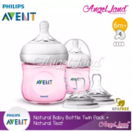 image of [Best Buy For 2x] Philips Avent Natural Bottle 4oz/125ml Twin Pack (Pink) - SCF691/23 + Philips Avent Natural Teat - Bottle 4oz/125ml + SCF654/23