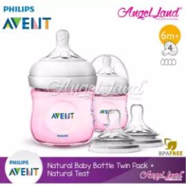 image of [Best Buy For 2x] Philips Avent Natural Bottle 4oz/125ml Twin Pack (Pink) - SCF691/23 + Philips Avent Natural Teat - Bottle 4oz/125ml + SCF654/23
