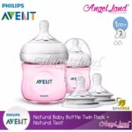 image of [Best Buy For 2x] Philips Avent Natural Bottle 4oz/125ml Twin Pack (Pink) - SCF691/23 + Philips Avent Natural Teat - Bottle 4oz/125ml + SCF652/23