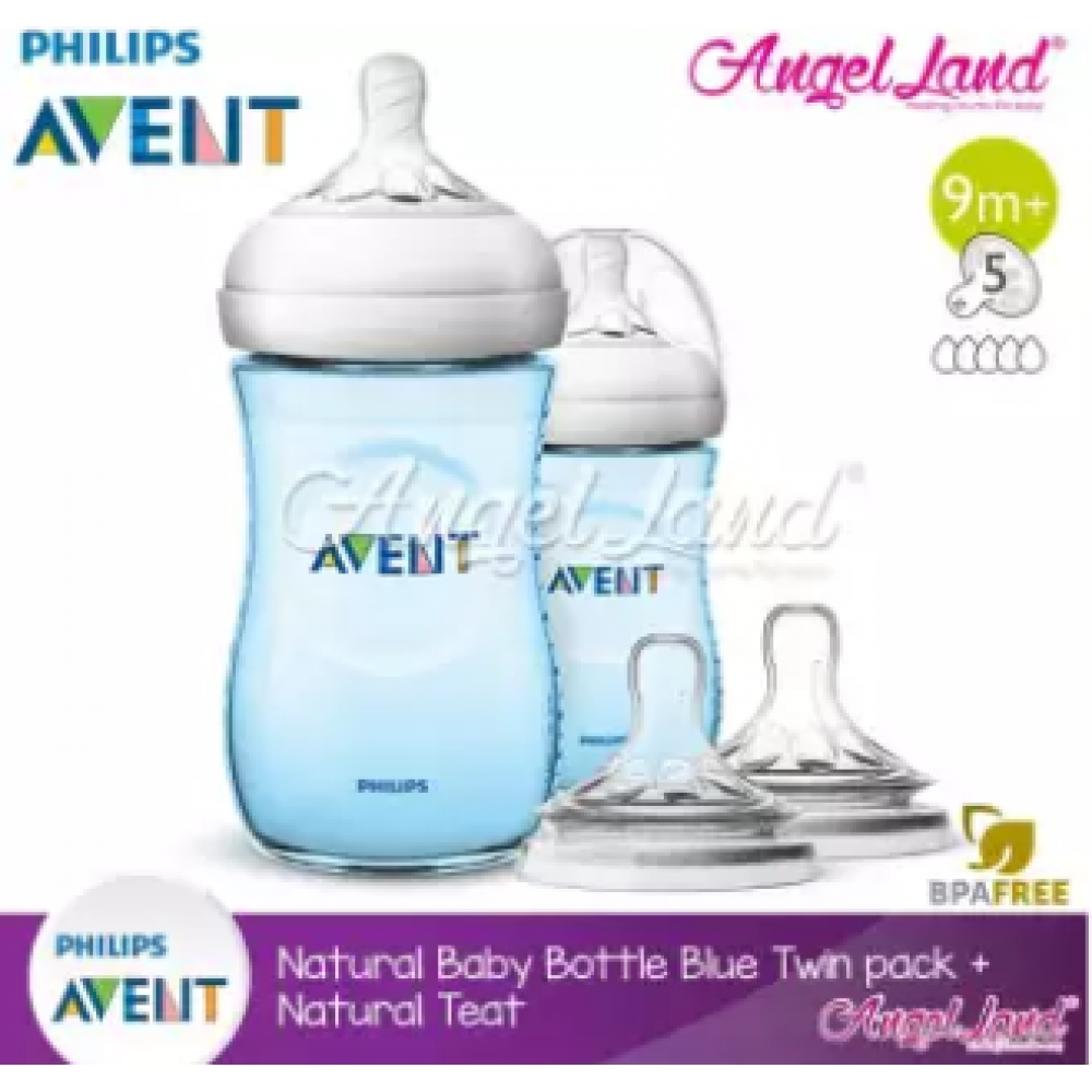 Philips Avent Natural Bottle 9oz/260ml Twin Pack (Blue) SCF695/23 + Philips Avent Natural Teat - Blue 260ml & SCF658/23