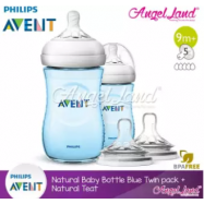 image of Philips Avent Natural Bottle 9oz/260ml Twin Pack (Blue) SCF695/23 + Philips Avent Natural Teat - Blue 260ml & SCF658/23