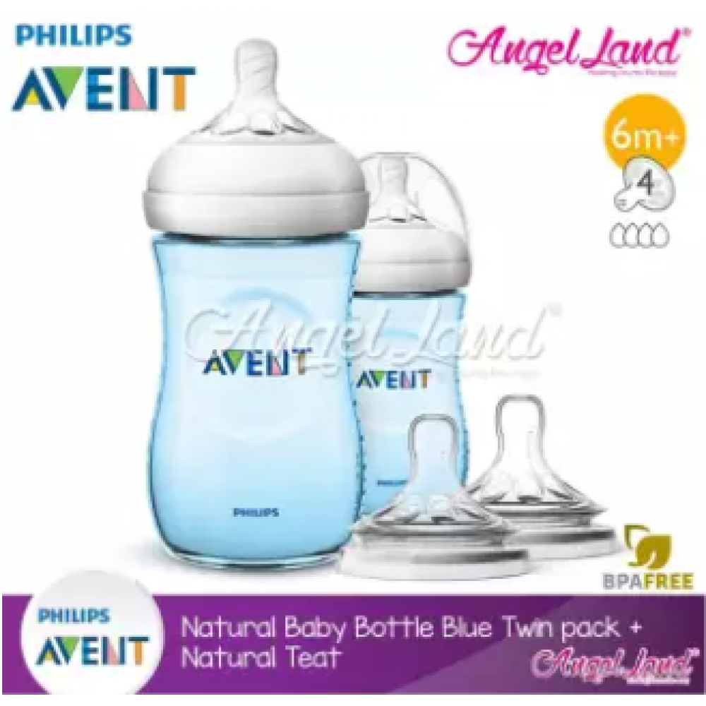 Philips Avent Natural Bottle 9oz/260ml Twin Pack (Blue) SCF695/23 + Philips Avent Natural Teat - Blue 260ml & SCF654/23
