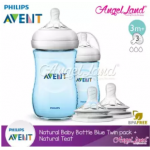 Philips Avent Natural Bottle 9oz/260ml Twin Pack (Blue) SCF695/23 + Philips Avent Natural Teat - Blue 260ml & SCF653/23