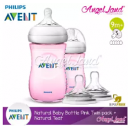 image of [Best Buy For 2x] Philips Avent Natural Bottle 9oz / 260ml Twin Pack (Pink) - SCF694/23 + Philips Avent Natural Teat -Pink 260ml & SCF658/23