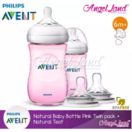 image of [Best Buy For 2x] Philips Avent Natural Bottle 9oz / 260ml Twin Pack (Pink) - SCF694/23 + Philips Avent Natural Teat - Pink 260ml & SCF656/23